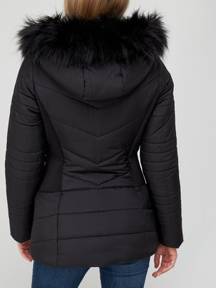 Very Value Short Padded Jacket With Faux Fur Trim - Black