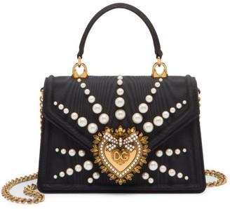 Dolce & Gabbana Devotion Embellished Silk Top Handle Bag