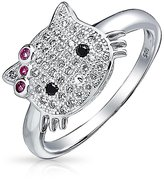 Bling Jewelry Simulated Ruby CZ Cool Kitty 925 Silver Girls Ring Bow