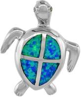 Sabrina Silver Sterling Silver Hawaiian Sea Turtle Pendant Synthetic Opal Inlay Cubic Zirconia Accent, 1 3/16 inch tall