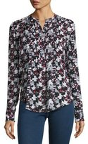 Veronica Beard Goldie Floral Silk Tuxedo Blouse, Black/Navy/Red/White