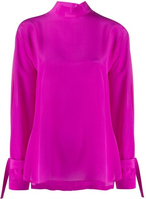 Jejia Back Buttoned Roll Neck Blouse