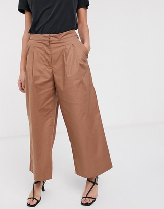 Selected crop trousers in camel-Brown