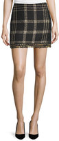 Rachel Zoe Bex Metallic Plaid Fringed Miniskirt