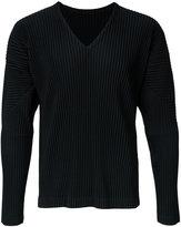 Homme Plissé Issey Miyake pleated long sleeve v-neck t-shirt