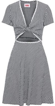 Solid & Striped Knotted Cutout Floral-appliqued Gingham Seersucker Dress