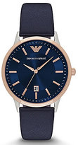 Emporio Armani Analog & Date Leather-Strap Dress Watch