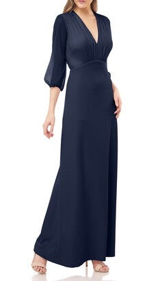 JS Collections Crepe Gown with Chiffon Sleeves