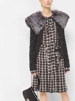 Michael Kors Houndstooth Pleated Silk-Georgette Slit Skirt