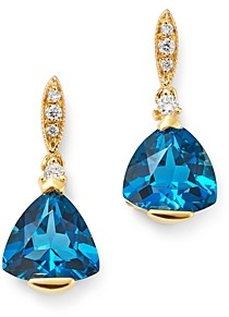 Bloomingdale's London Blue Topaz & Diamond-Accent Earrings in 14K Yellow Gold - 100% Exclusive