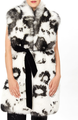 Monique Lhuillier Belted Fox Fur Vest