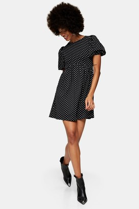 Topshop Womens Black And White Spot Babydoll Dress - Monochrome
