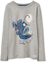 Joules Little Joule Boys' Junior Raymond Angler Glow Fish T-Shirt, Grey
