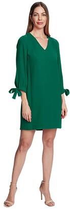 CeCe 3/4 Tie Sleeve V-Neck Dress (Rich Black) Women's Clothing