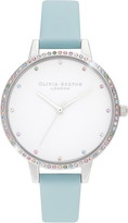 Olivia Burton Rainbow Bezel Leather Strap Watch, 34mm