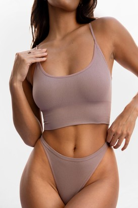 Nasty Gal Womens Nothing More or Nothing Seamless Longline Bralette - Beige - S