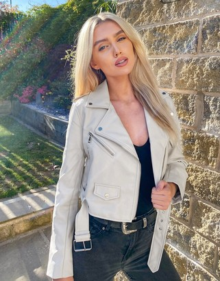 Stradivarius faux leather belted jacket in white