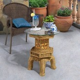 Toscano Tranquil Pagoda Illuminated Glass Topped End Table Design