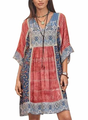 FIYOTE Women's Casual 3/4 Sleeve Floral Embroidered Mexican Peasant Midi Dress Tops Blouses Shirt Tunic Red 2XL