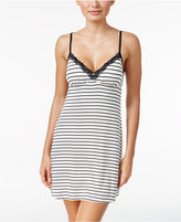 Jenni by Jennifer Moore Lace-Trimmed Striped Knit Chemise, Only at Macy's