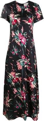 La DoubleJ Floral Print Long Silk Dress