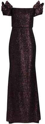 Badgley Mischka Sequined Origami Sleeve Off-The-Shoulder Gown