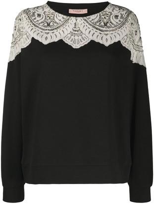 Twin-Set Lace Panel Sweatshirt