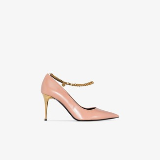 Tom Ford Pink 85 metallic chain leather pumps