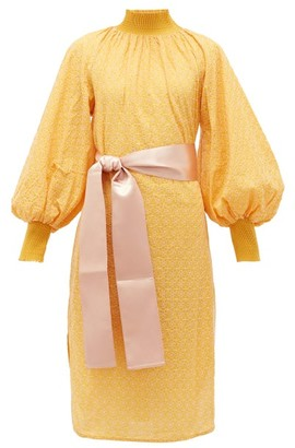 My Beachy Side - Waist-tie Broderie-anglaise Cotton Dress - Yellow