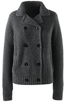 Lands' End Women's Cozy Shaker Sweater Jacket-Charcoal Heather