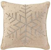 "Beaded Metallic Snowflake 12"" Pillow"