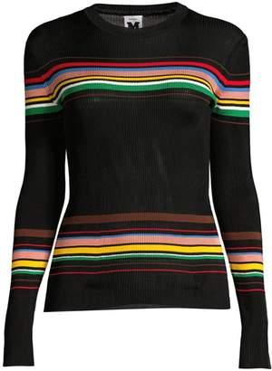 M Missoni Striped Long-Sleeve Rib-Knit Sweater