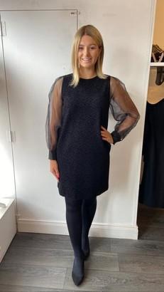 Marella Black Dress With Puff Net Sleeve - UK 10