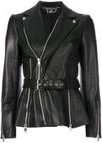 Alexander McQueen biker jacket - women - Silk/Lamb Skin - 42