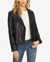 CeCe Ruffled Faux-Leather Moto Jacket
