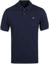 Cp Company Navy Pique Short Sleeve Polo Shirt