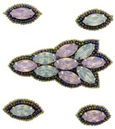 Pink Pewter Pink Iridescent Beaded Jeweled Hair Clips