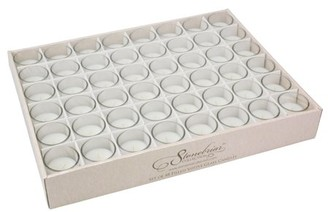 clear Ckk Home Decor Stonebriar 48 Pack Unscented Long Burning Glass Wax Filled Votive Candles, CandlDecor for Parties, Weddings, Spas, Restaurants, or Everyday Home, White