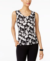 JM Collection Petite Petal-Print Jacquard Tank, Only at Macy's