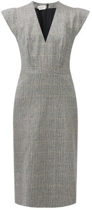 Alexander McQueen Prince Of Wales-check Wool-blend Pencil Dress - Grey Multi