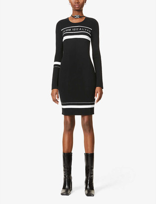 Alyx Logo-intarsia stretch-knitted mini dress