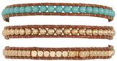 Aeropostale Womens Beaded Faux Leather Wrap Bracelet