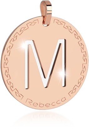 Rebecca Rose Gold-plated Bronze M Charm W/Rhodium-plated Necklace