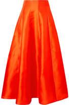 Merchant Archive - Hero Pleated Silk Midi Skirt - Bright orange