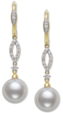 Belle de Mer Cultured Freshwater Pearl (9mm) & Diamond (1/4 ct. t.w.) Drop Earrings in 14k Gold