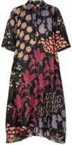 Biyan - Allie Floral-print Silk-organza Midi Dress - Black