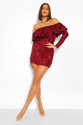 boohoo Sequin Frill Off The Shoulder Mini Dress