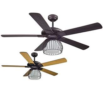 Camilla And Marc sulion Rack Fan with Lighting in Wood Reversible E27 40 W, Brown, 132 x 40 To 53 cm