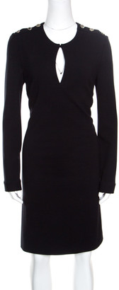 Gucci Black Textured Shoulder Button Detail Long Sleeve Shift Dress M