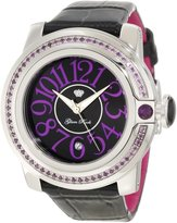 Glam Rock Women's GR32047 SoBe Amethyst Accented Dial Shiny Patent Leather Watch